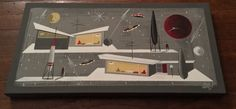 EL GATO GOMEZ PAINTING RETRO MID CENTURY MODERN ATOMIC SPACE ROBOT SCIFI UFO #Modernism