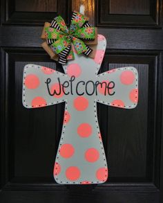 Wooden Cross Door Hanger. $35.00, via Etsy.