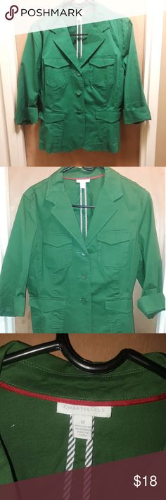 Charter Club blazer jacket This jacket is in good condition, green size 12 made by charter club...has 3/4 length sleeves and a cute addition to your wardrobe. Charter Club Jackets & Coats Blazers