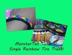 New!! MonsterTail Loom Tutorial: Single Rainbow Tire Traxx Bracelet!