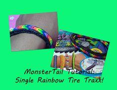 New!! MonsterTail Loom Tutorial: Single Rainbow Tire Traxx Bracelet!