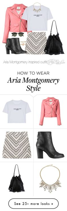 """Aria Montgomery inspired outfit/PLL"" by tvdsarahmichele on Polyvore featuring IRO, WithChic, MANGO, rag & bone, ABS by Allen Schwartz, Accessorize, Loeffler Randall and Ray-Ban"