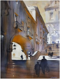 """""""Steps of Girona"""" Thomas W Schaller Watercolor 24x18 Inches    28 May 2015"""