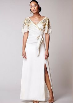 d5c33ba2321 Virgos Lounge Ivory Embellished Rainette Split Maxi Gown Party Dress 6 to  10 New  VirgosLounge