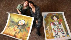 Adelaide artist Mariana Mezic with Kate Ceberano and the two paintings she did of the singer as her Archibald Prize entry. Picture: Tait Schmaal.