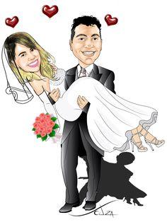 SouzaArte - Caricatura Vendas e Eventos: Encomenda de casal Rita Ventura - http://www.souzaarte.com/#!/cnfd