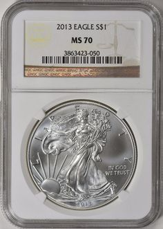 2013 $1 Silver Eagle NGC MS-70 Silver Eagle Coins, Silver Eagles, Bullion Coins, Silver Bullion, In God We Trust, Personalized Items, Ebay