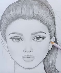 Hottest Free Ponytail hairstyles step by step Thoughts The summer time is pretty much through now it's time to organize autumn year or so together with a Girl Face Drawing, Girl Drawing Sketches, Art Drawings Sketches Simple, Art Drawings Beautiful, Face Sketch, Girl Sketch, Drawing Guide, Cartoon Pencil Drawing, Beautiful Pencil Sketches