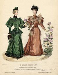 Bustle Fashions (Gay Nineties/Belle Epoque) Two Women in Day Dress, La Mode Illustree, no. 52, 1893