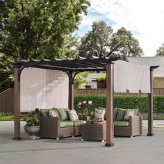 22 Awesome Pergola Patio Ideas | Patio landscaping Pergola Metal, Patio Pergola, Cedar Pergola, Corner Pergola, Pergola Canopy, Pergola Shade, Patio Roof, Pergola Plans, Gazebo