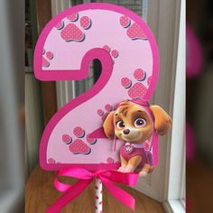 Paw Patrol Centerpiece with Age by on Etsy Paw Patrol Pinata, Girl Paw Patrol Party, Sky Paw Patrol, Paw Patrol Birthday Theme, Paw Patrol Cake, Girl 2nd Birthday, Puppy Birthday, Sky E, Paw Patrol Decorations