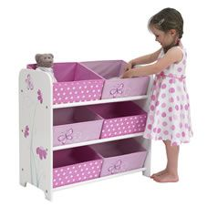 butterfly storage bin with six compartments for the girlie stuff. :-)