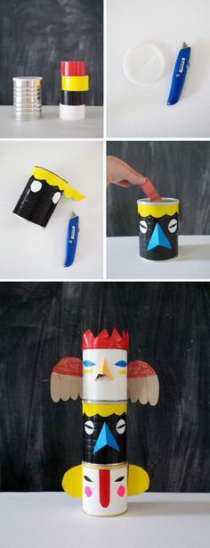 Make a Set of Totem Pole Banks from Cans and Duct Tape | Mer Mag