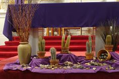 Decorating the lent feast table an ilrated guide to the triduum decorating the lent feast table Lent Decorations For Church, Church Ideas, Catholic Altar, Catholic Churches, Catholic Saints, Altar Design, Church Flowers, Altar Flowers, Home Altar