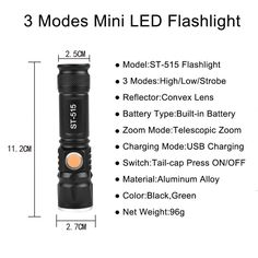 Zoomable T6 LED Light 8000 LM Tactical USB Rechargeable Flashlight 3 Mode Mini Lamp Torch Zoom Adjustable Lantern Camp PJW