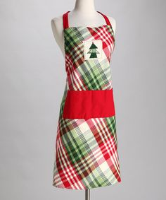 Take a look at this Cozy Christmas Plaid Apron - Adult by Design Imports on #zulily today!
