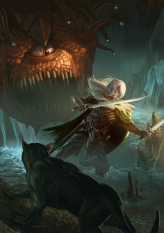 A personal piece depicting the beloved Forgotten Realms character, Drizzt D'ourden and his loyal panther companion Guenhwyvar being ambushed by a Beholder. Eyes of the Underdark Fantasy Kunst, Dark Fantasy Art, Fantasy Rpg, Fantasy Artwork, Dungeons And Dragons, Cover Art, Drizzt Do Urden, Character Art, Character Design
