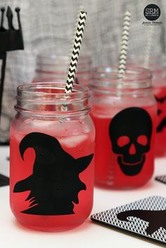 Halloween Mason Jar Drinking Glasses and Coasters decorated with adhesive vinyl and Silhouette Cameo by Juliana Michaels Halloween Mason Jars, Halloween Crafts, Happy Halloween, Mason Jar Drinking Glasses, Patterned Vinyl, Adhesive Vinyl, Scrapbook Pages, Coasters, Card Making