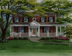 Colonial Style House with Brick Front Porch - brick colonial house plans