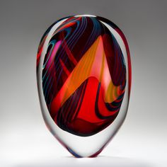 Arrival of Spring blown glass sculpture by Peter Layton - large wide