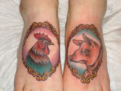 would get a tattoo of a rooster on one foot and a pig on the other to prevent drowning. The symbolism derived from the fact that when ships sank, the only safe refuge was to grab onto the pig and chicken crates that would float in the water. Rooster & Pig by Kapten Hanna, via Flickr