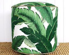 "Square Fox Green Palm outdoor pouf ottoman floor seat | Round 45cm or 18"" diameter"