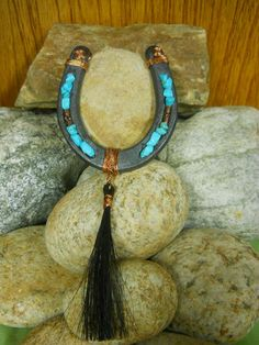 Real Horse Shoe Wall Decor with Genuine Turquoise Beads and Horse Hair Tassel | eBay