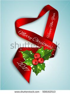 Elegance realistic satin ribbon Christmas and New Year card