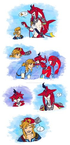 Memory Strands by Humanoid-Magpie Sidon and Link's hair Legend Of Zelda Memes, Legend Of Zelda Breath, Billdip, Spideypool, Sidon Zelda, Majora Mask, Prince Sidon, Hyrule Warriors, Slash