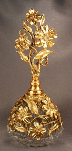 Vtg Ornate Matson Daisy Daisies Glass Gilt Metal Ormolu Perfume Bottle