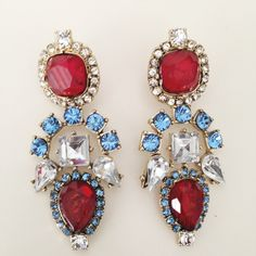 Birdie Earrings Red & Blue