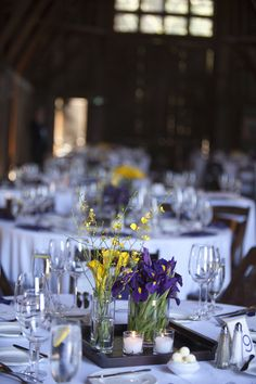 Purple & Yellow Wedding table centerpieces