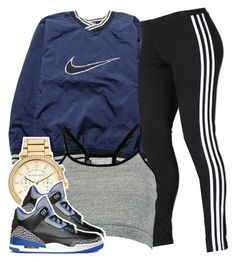 """bluee"" by clickk-mee ❤ liked on Polyvore featuring NIKE, adidas, Boohoo, MICHAEL Michael Kors and Retrò"