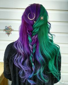 Purple hair styles, purple and green hair, green hair ombre, green wig, Hair Dye Colors, Cool Hair Color, Bright Hair Colors, Bright Purple, Color For Long Hair, Rainbow Hair Colors, Two Color Hair, Pink Yellow, Purple And Green Hair