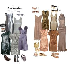 """""""Choosing metals"""" by imogenl on Polyvore    If you have cool colouring, you'll find that silver, pewter and rose gold are your better metallic options.    If you have warm colouring then choose gold, rose gold, copper or bronze."""