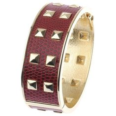 Adele Marie Faux Snakeskin Crescent Pyramid Detail Cuff , Red ($25) ❤ liked on Polyvore featuring jewelry, bracelets, bracelets bangle, cuff bangle, hinged cuff bracelet, bangle cuff bracelet and bangle jewelry