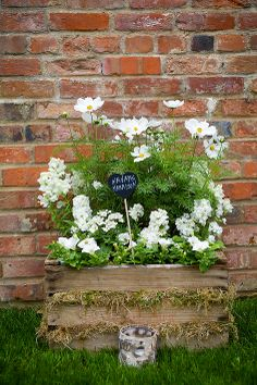 Crate of wedding flowers