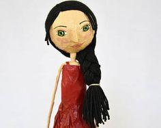 Muñeca Papel Maché Regalo para Mujer Muñeca Artística Muñeca Coleccionable Muñeca Verano Regalo Cumpleaños Muñeca Única Figura Papel Maché