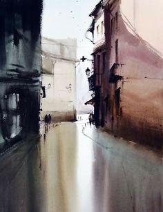 Manolo Jimenez 2º Algemesí 2016 - 120x90cm Watercolor Artists, Watercolor Landscape, Artist Painting, Watercolor And Ink, Watercolour Painting, Landscape Paintings, Watercolours, City Landscape, Urban Landscape
