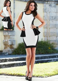Color Block Peplum Dress by Venus - love the curves of the contrasting color blocks & the ruffle detail that wraps around!