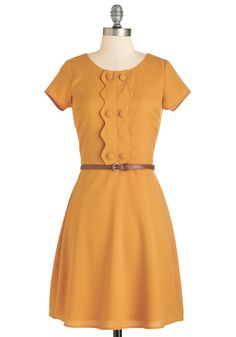 Full Recommendation Dress - Yellow, Solid, Casual, 60s, Short Sleeves, Fall, Woven, Mid-length, Mod, Buttons, Belted, Vintage Inspired, Scoop
