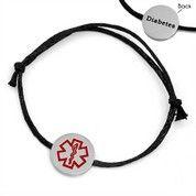 Adjustable Black Cotton Bracelet Diabetes Medical Tag