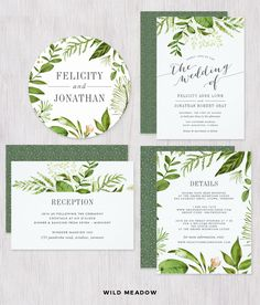 Wild Meadow greenery wedding invitation set. Custom invitations, reply cards and many more items in this beautiful #watercolorwedding stationery from Redwood and Vine, Co. #bohowedding