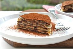 Chocolate crepes layered with bananas and hazelnut spread...elegant and easy!