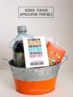Give teacher a night off with a RedBox movie night basket. - Free Printable - Teacher gift idea