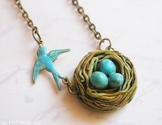 Bird Nest Necklace  gift for mother family and by verarodrigues, $25.00
