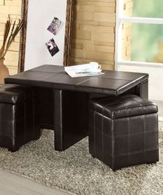 Organize Magazines And Cut Down On Clutter With This Versatile Set That  Includes An Elegant Table With Built In Magazine Racks And Two Ottomans  With Extra ...