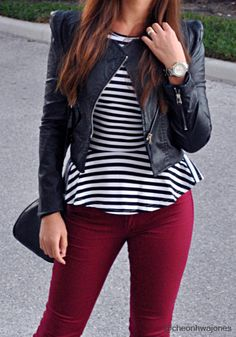 short leather jacket with colored skinnies and a striped peplum ♥