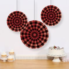 Buffalo Plaid paper fans, Birthday Direct $4.98