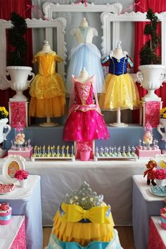 Very tempted to buy some little dress forms to display the dresses for her princess party then turn around and take them back the next day. Terrible right?! But really... Where would I have room to keep them?! I don't know where you would rent them and I probably don't want to know how much it would cost if I did!